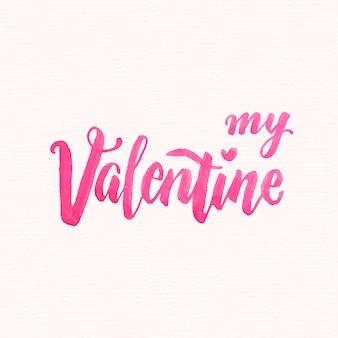 Akwarela valentine's day napis
