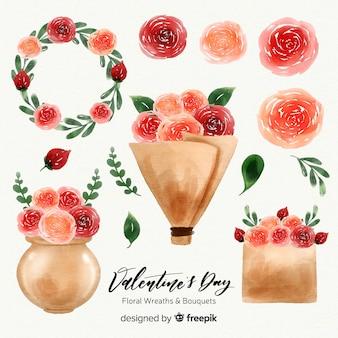 Akwarela valentine's day wieńce i bukiety kwiatów