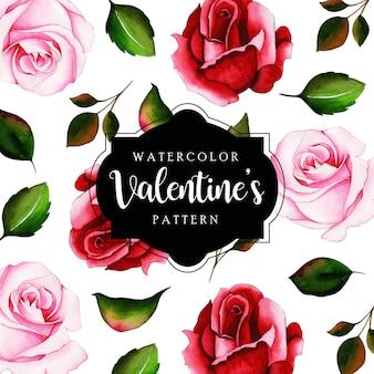 Akwarela valentine wzór tła