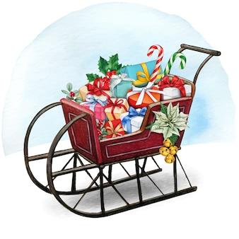 Akwarela vintage bożonarodzeniowe sanie pełne prezentów i smakołyków