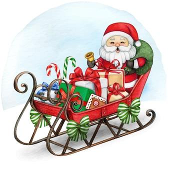 Akwarela vintage bożonarodzeniowe sanie z mikołajem pełnym prezentów i smakołyków