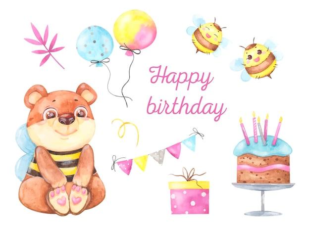 Akwarela wakacje zestaw kartkę z życzeniami urodzinowymi