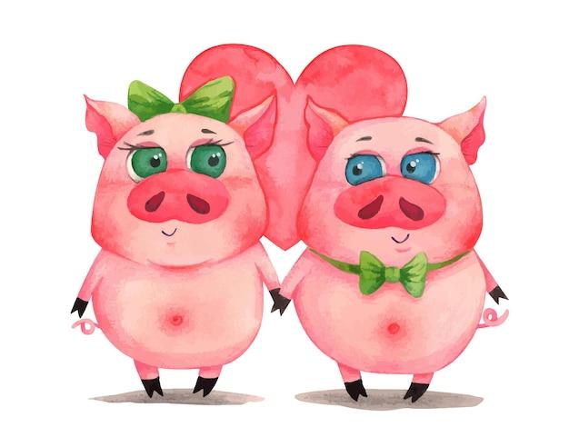 Akwarela walentynki para śliczna świnia