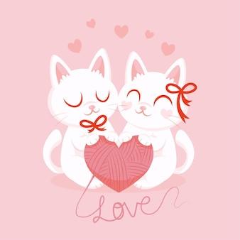 Akwarela walentynki zakochane kotki