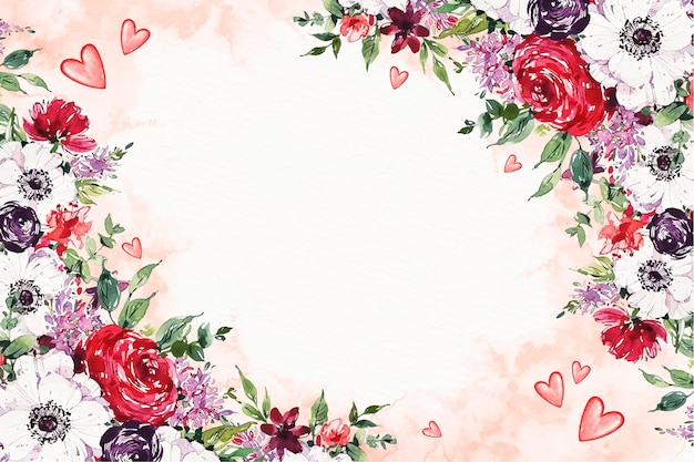 Akwarela walentynkowa tapeta z kwiatami i pustą przestrzenią