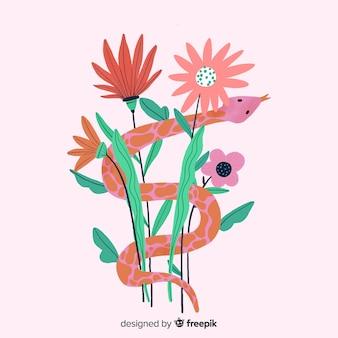 Akwarela wąż z kwiatów tłem