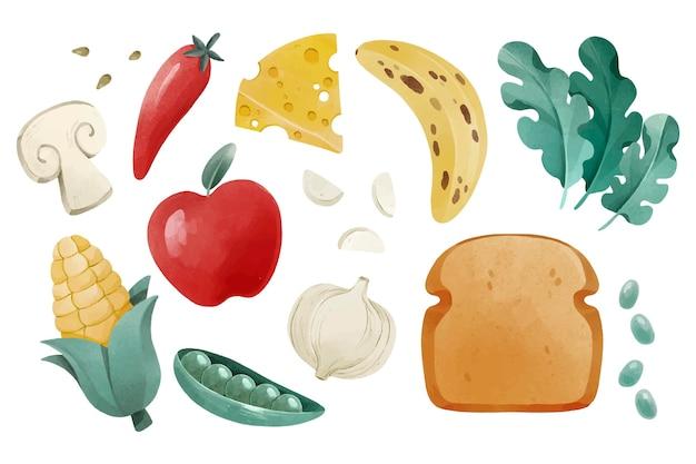 Akwarela wegetariańska paczka żywności