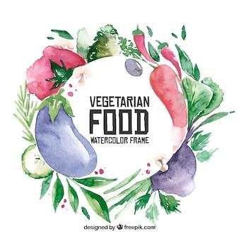 Akwarela wegetariańska rama jedzenie