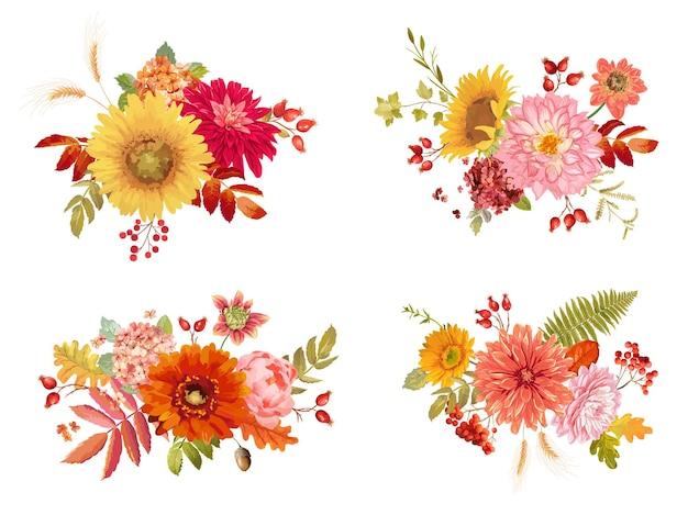 Akwarela wektor jesienne kwiaty bukiety, hortensja pomarańczowa, paproć, dalia, jarzębina czerwona, słonecznik, jesień kolekcja liści. na białym tle kwiatowy kolorowy zestaw