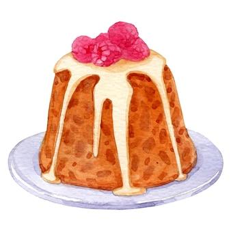 Akwarela wektor świątecznych deserów na białym tle ręcznie rysowane szkic świąteczny pudding