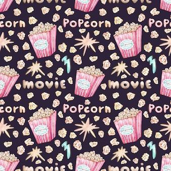Akwarela wektor wzór z wiadro popcorn
