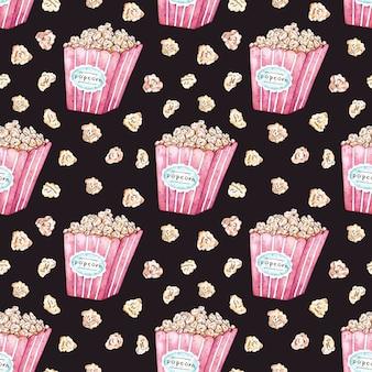 Akwarela wektor wzór z wiadro popcorn.