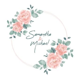 Akwarela wesele wiosna kwiatowy okrągły projekt ramki