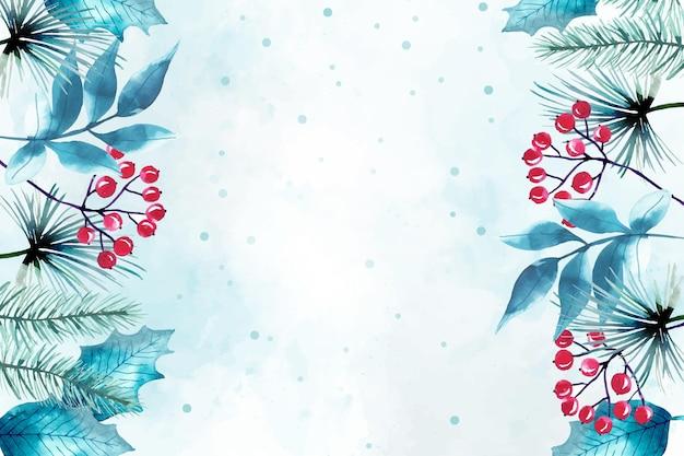 Akwarela wesołych świąt bożego narodzenia tło
