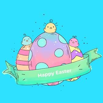 Akwarela wesołych świąt wielkanocnych z jajkami i pisklętami