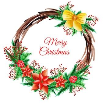 Akwarela wianek świąteczny