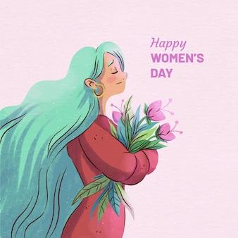 Akwarela widok z boku międzynarodowego dnia kobiet