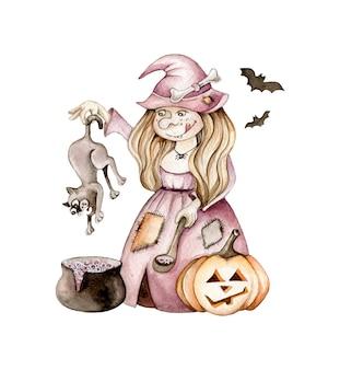 Akwarela wiedźma z kotem, nietoperzami, dynią. ilustracja halloween. postać z kreskówki. koncepcja kreatywna