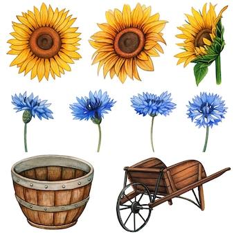 Akwarela wiejskie kwiaty i drewniane elementy rustykalne