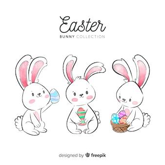 Akwarela Wielkanoc dzień króliczek kolekcja