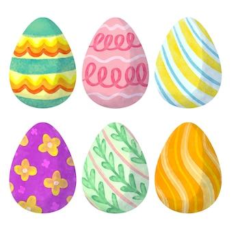 Akwarela wielkanoc jaja kolekcja