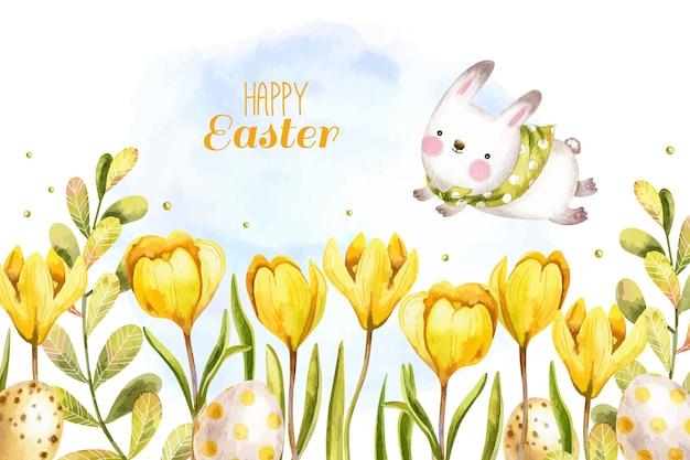 Akwarela wielkanoc tło z ładny króliczek, jajka i krokusy