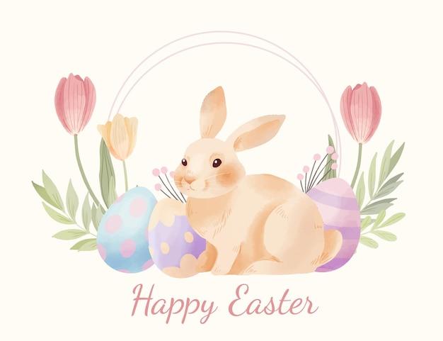 Akwarela wielkanocna ilustracja z jajkami i króliczkiem
