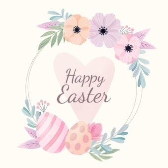 Akwarela wielkanocna ilustracja z jajkami i kwiatami