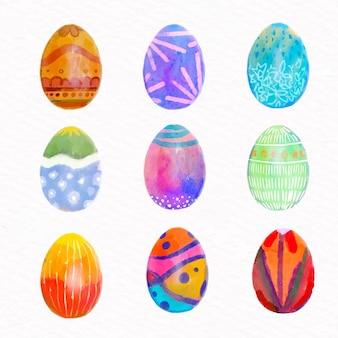 Akwarela wielkanocna kolekcja jaj