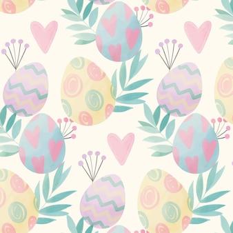 Akwarela wielkanocny wzór z jajkami i liśćmi