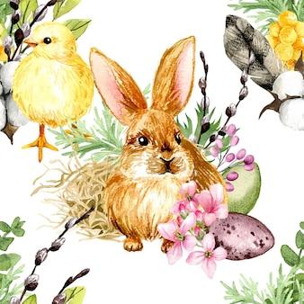 Akwarela wielkanocny wzór z pisklęciem i króliczkiem, ręcznie rysowane akwarela ilustracja.