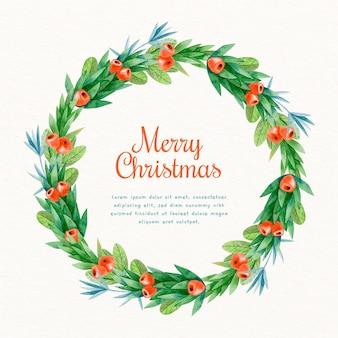 Akwarela wieniec bożonarodzeniowy rama