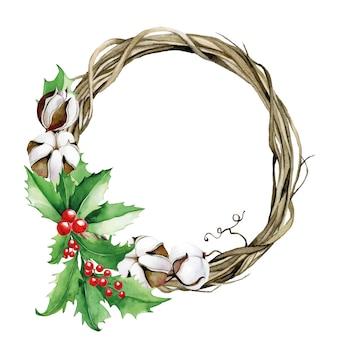 Akwarela wieniec bożonarodzeniowy z gałązek bawełny eukaliptusowej i ostrokrzewu