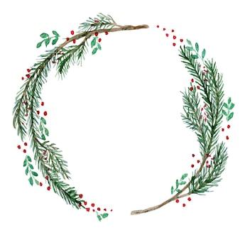 Akwarela wieniec bożonarodzeniowy z gałązkami i jagodami
