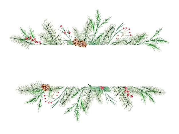 Akwarela wieniec bożonarodzeniowy z gałęzi jodłowych a