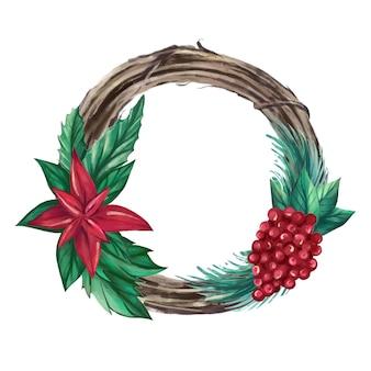 Akwarela wieniec bożonarodzeniowy z jagodami, liśćmi, kwiatami poinsecja. ręcznie rysowane ilustracji wektorowych