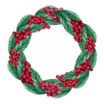 Akwarela wieniec bożonarodzeniowy z jagodami ostrokrzewu