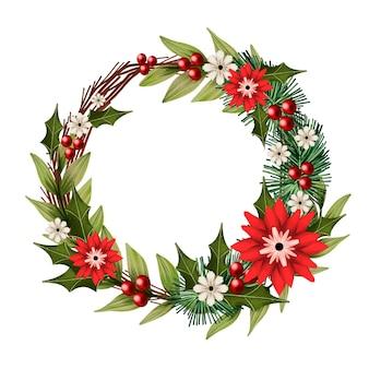 Akwarela wieniec bożonarodzeniowy z kwiatami