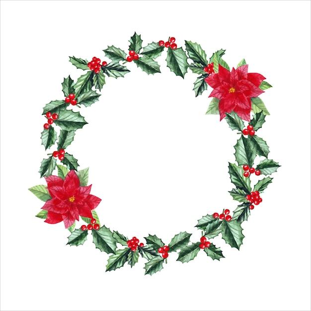 Akwarela wieniec bożonarodzeniowy z ostrokrzewem, poinsecją, jagodami i miejscem na tekst.