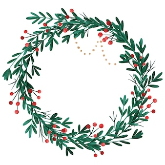 Akwarela wieniec bożonarodzeniowy