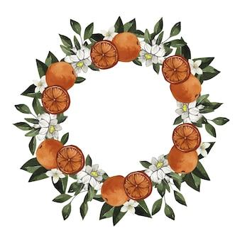 Akwarela wieniec cytrusowy z pomarańczą