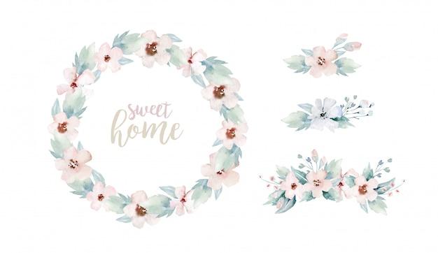 Akwarela wieniec kwiatowy i napis, słodki dom