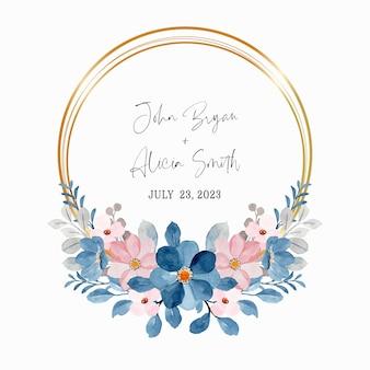 Akwarela wieniec kwiatowy niebieski różowy ze złotym kółkiem