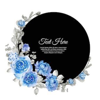 Akwarela wieniec kwiatowy rama kwiat niebieski