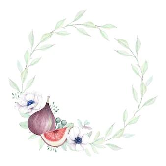 Akwarela wieniec kwiatowy z anemonem i figami.