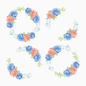 Akwarela wieniec kwiatowy z bukietem kwiatów róży