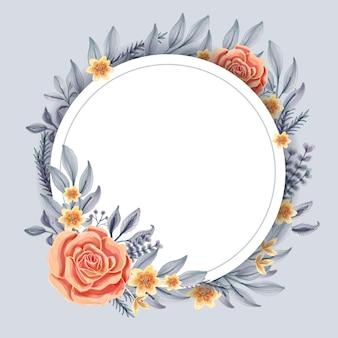 Akwarela wieniec kwiatowy z okrągłą linią obramowania