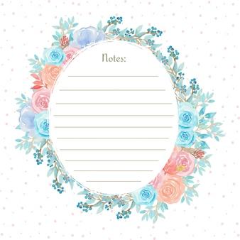 Akwarela wieniec kwiatowy z pięknymi niebieskimi i różowymi kwiatami