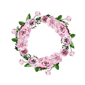 Akwarela wieniec kwiatowy z różowych róż i piwonii