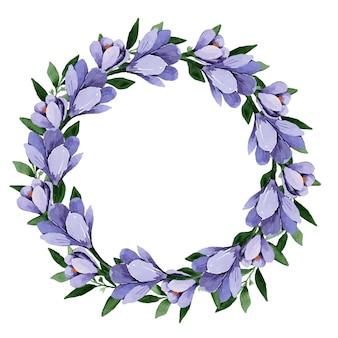 Akwarela wieniec kwiatowy z wiosennych kwiatów niebieskich krokusów